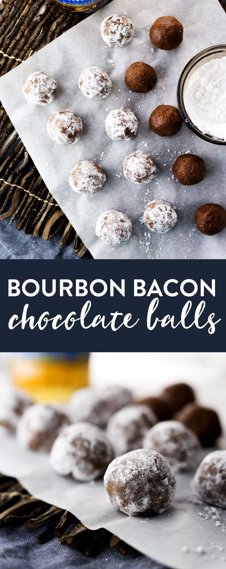 A sweet treat that takes almost no time to make; get your hands on these Bourbon Bacon Chocolate Balls and enjoy dessert today! | asimplepantry.com
