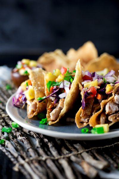 Teriyaki Pork Wonton Tacos
