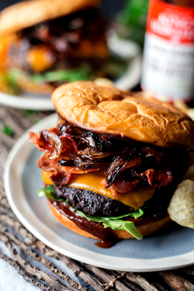 Grilling doesn't get much better than this Coffee Crusted BBQ Bacon Cheeseburger! Deluxe flavor without the fuss; dinner is served! | asimplepantry.com