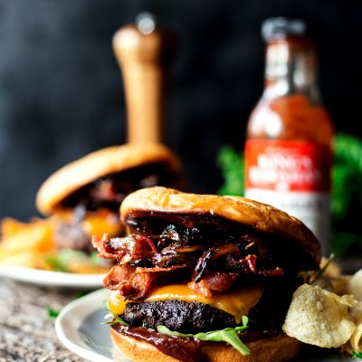 Coffee Crusted BBQ Bacon Cheeseburger
