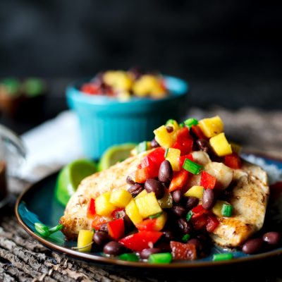 Spicy Salt and Lime Black Sea Bass with Mango and Black Bean Salad