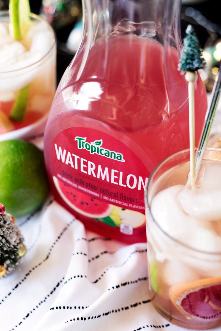 Get your party on with this super simple, super delish, Watermelon Paloma Cocktail! Happy Holidays; bottoms up! | asimplepantry.com