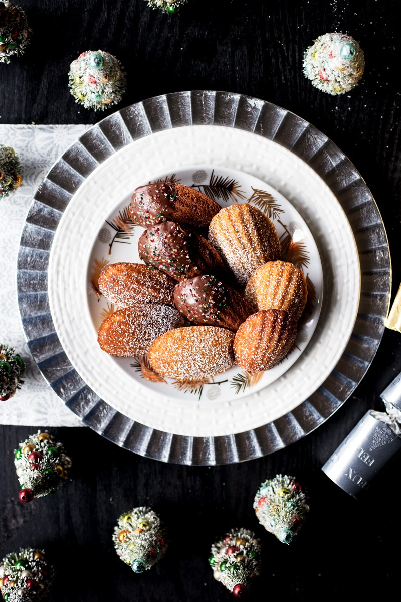 Get in the holiday spirit with these Three French Madeleines, in Pumpkin Spice, Honey Vanilla, and Dark Chocolate Nutella Glazed! Ready in under 30 minutes, get your holiday baking on in style. | asimplepantry.com