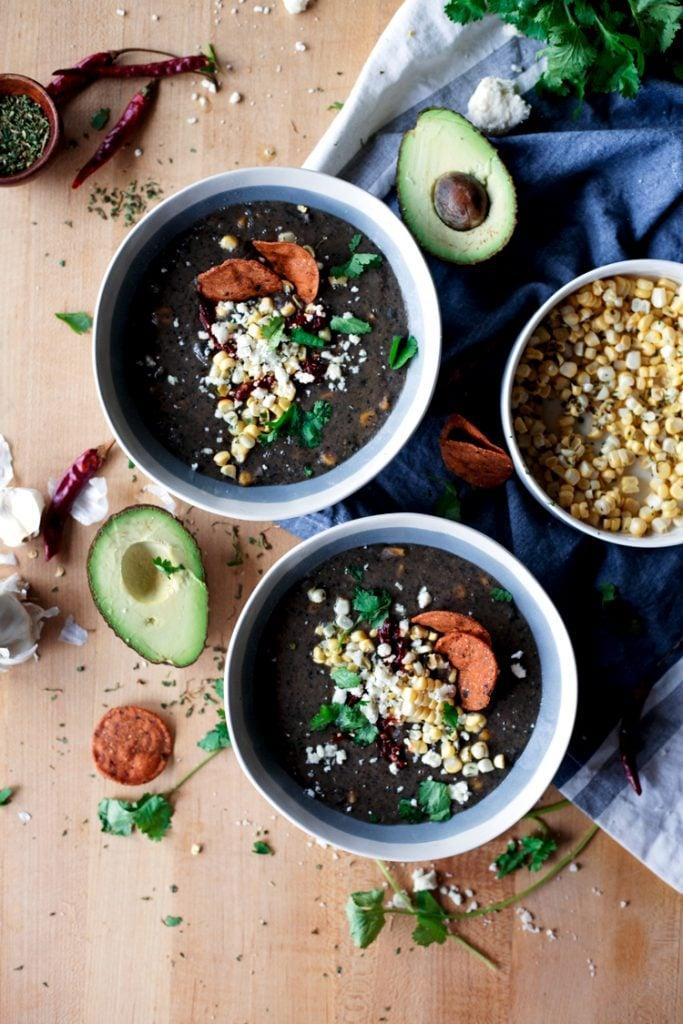 Creamy Black Bean and Roasted Poblano Soup