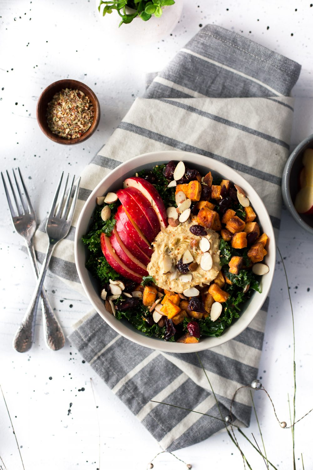 Crispy Crunchy Winter Hummus Bowl with Kale, Sweet Potato, and Apple