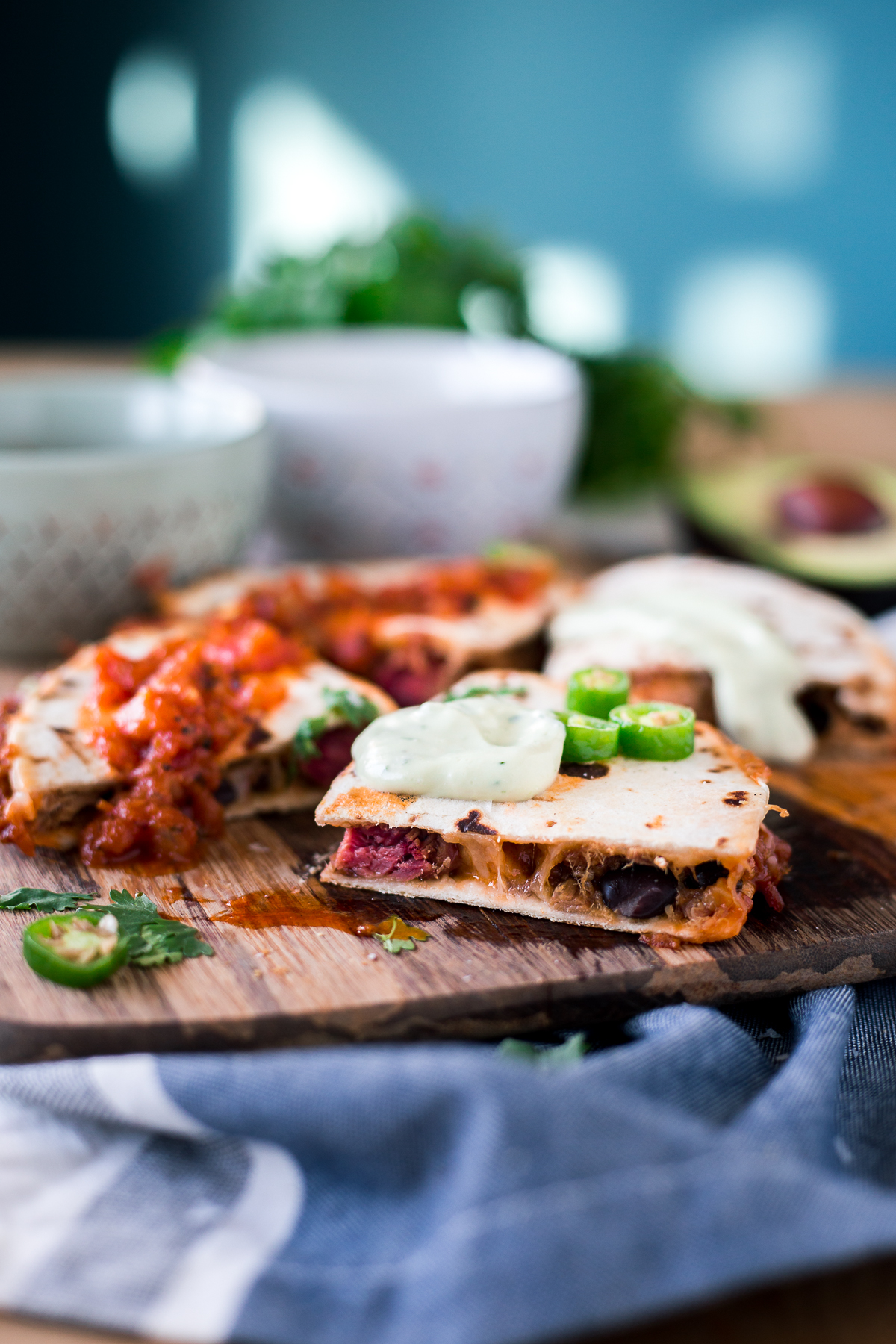 Look no further than these Cheesy Black Bean and Pork Carnitas Quesadillas if you're needing some easy Mexican recipes in your life! Dinner is served! | asimplepantry.com