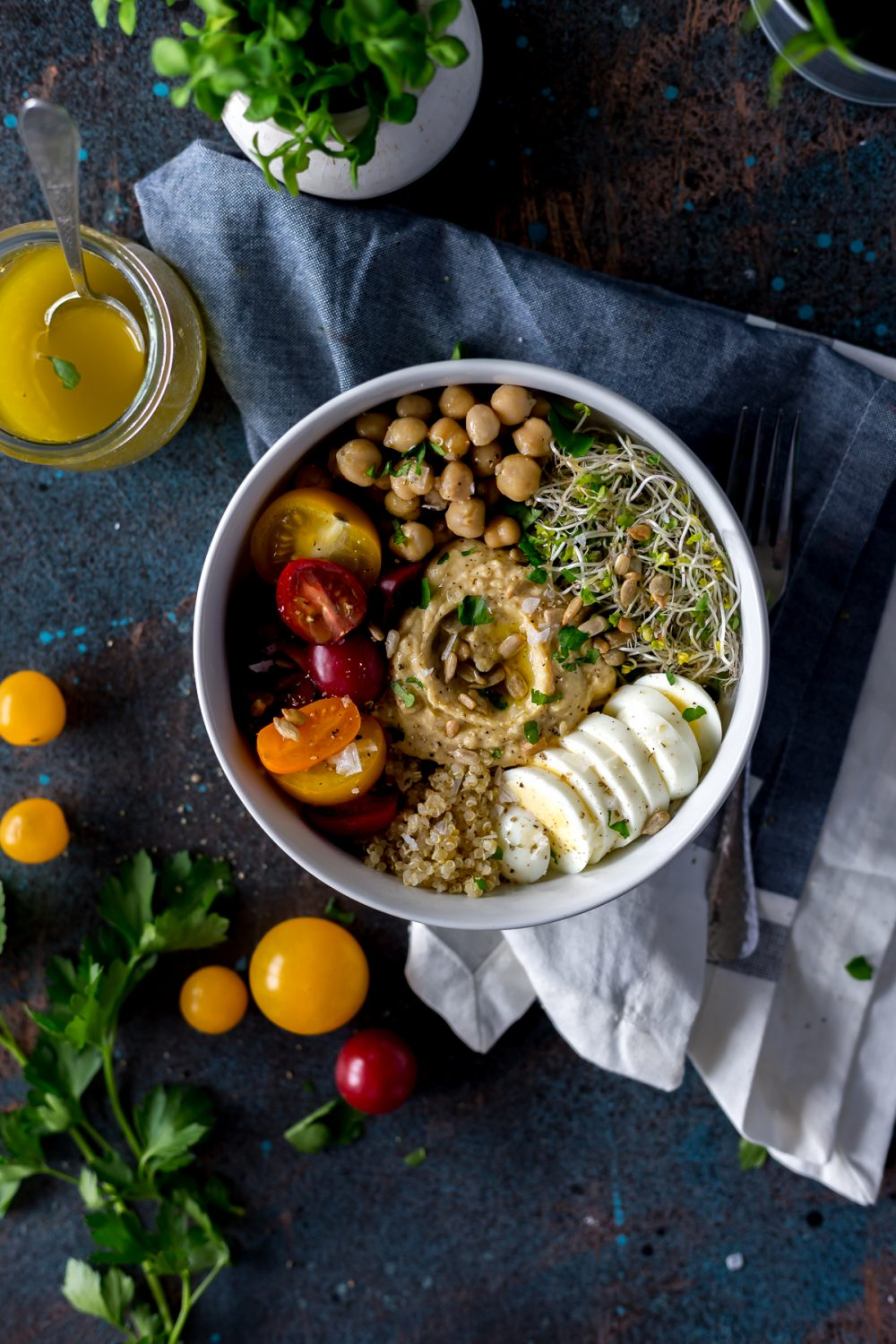 Flavorful Quinoa Hummus Protein Power Bowl