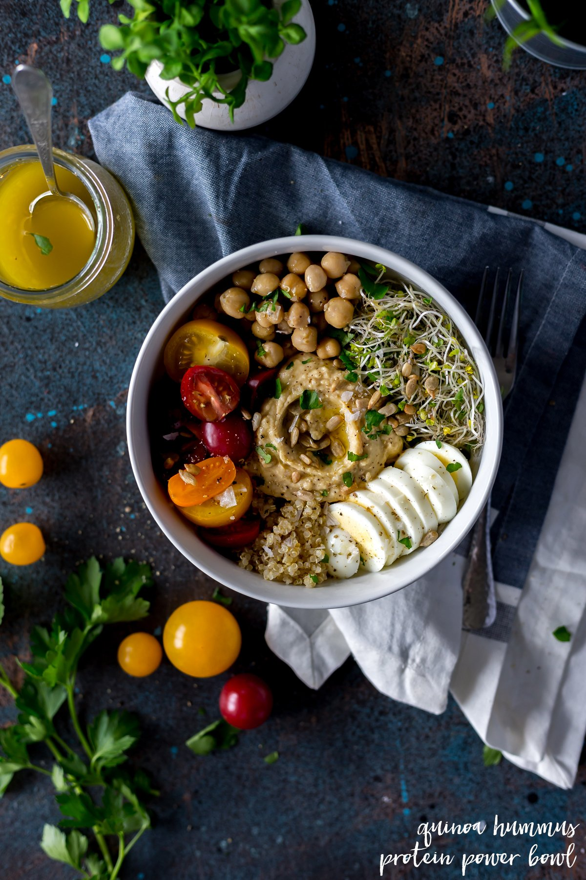 Enjoy a hummus recipe easy enough to whip together in minutes! This flavorful quinoa hummus protein power bowl will leave you satisfied; breakfast, lunch, or dinner! | asimplepantry.com