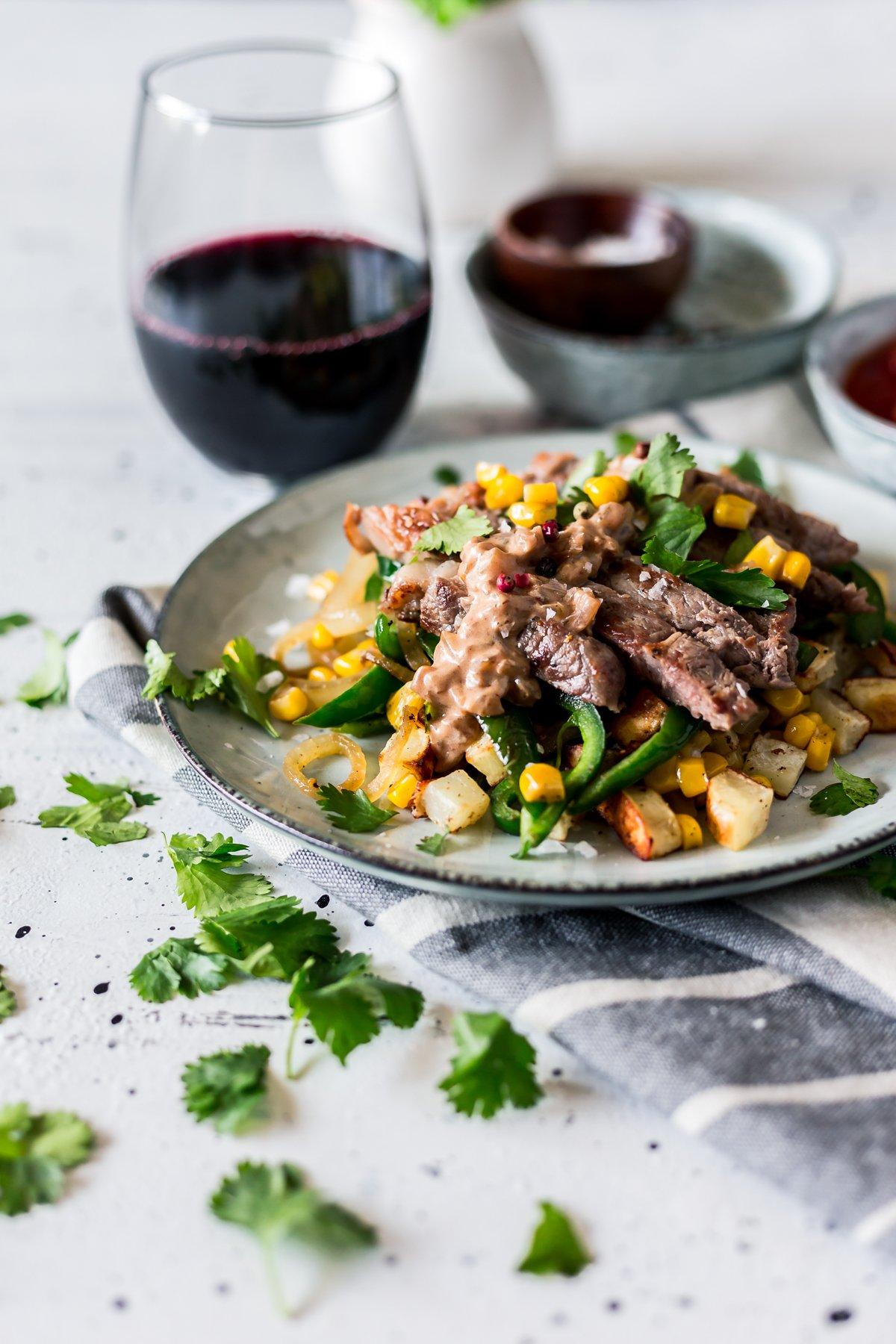 Seared Steak with Corn, Poblano, and Roasted Potato Hash ...