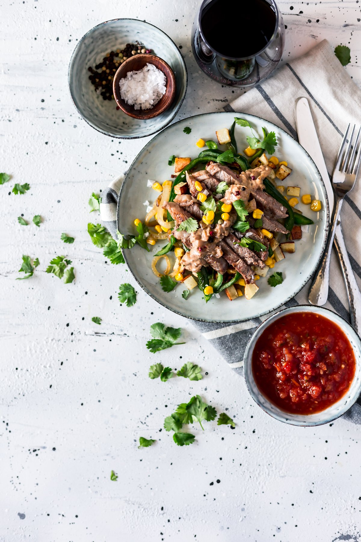 Get your summer grilling on with easy Mexican recipes like this Seared Steak with Corn, Poblano, and Roasted Potato Hash! Dinner is served. | asimplepantry.com