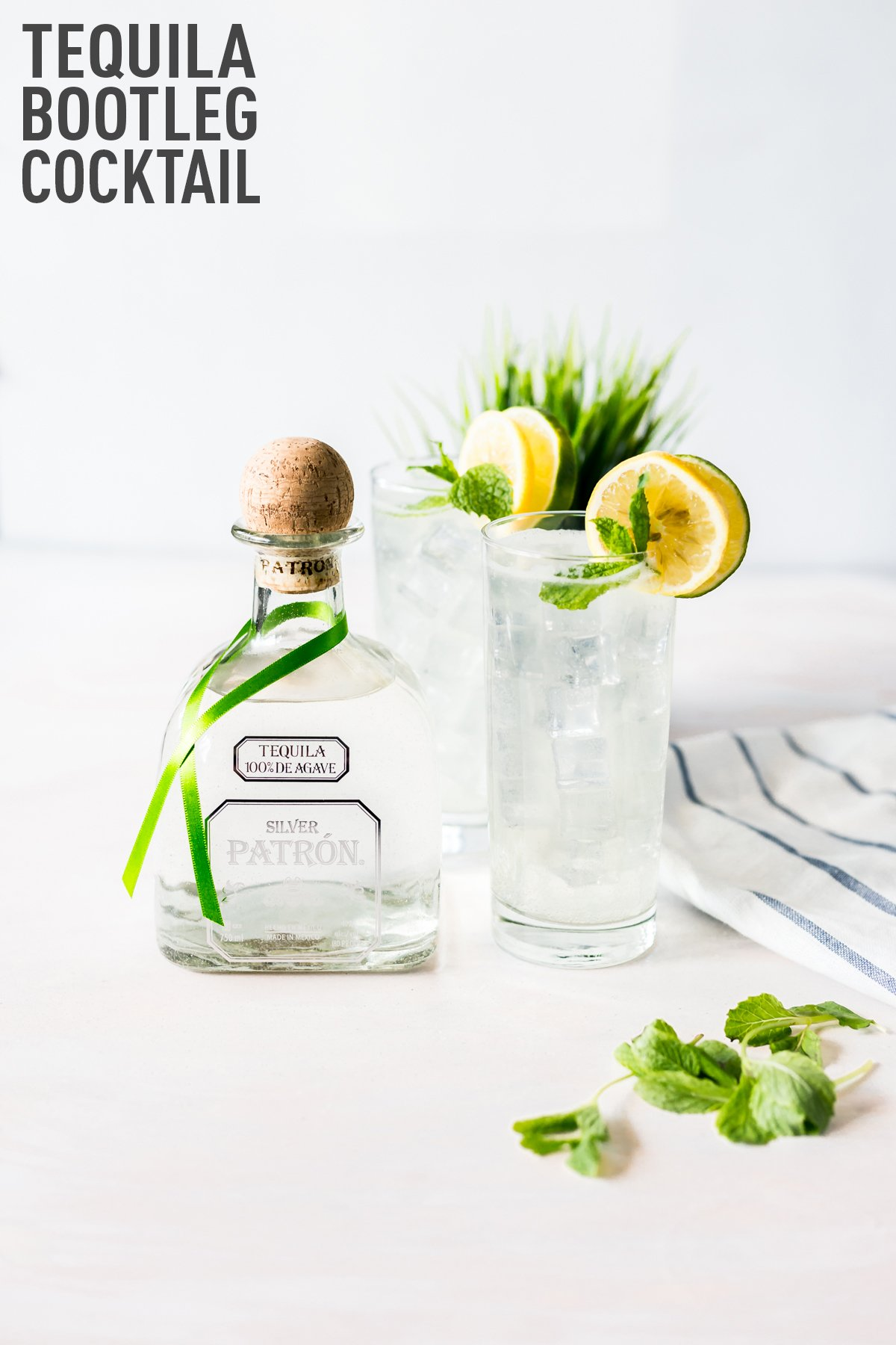 Enjoy this remix of a Minnesota classic when you whip up this easy cocktail recipe: The Tequila Bootleg! Citrus, Mint, and Patrón! | asimplepantry.com