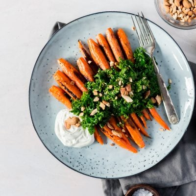 Roasted Carrots with Kale Salad and Homemade Za'atar Seasoning