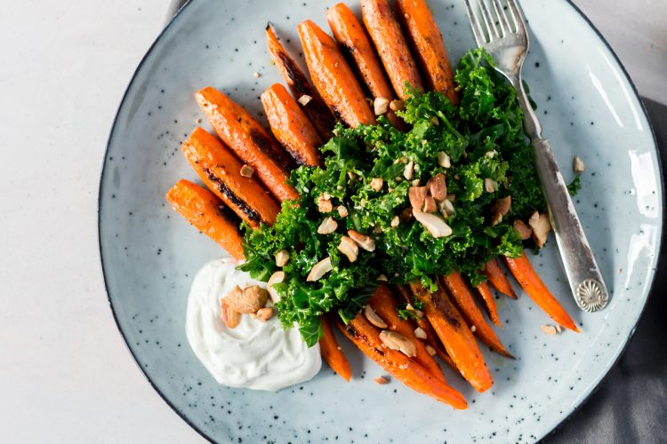 Roasted Carrots with Kale Salad and Homemade Za'atar Seasoning