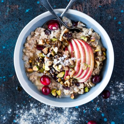 Slow Cooker Warm Apple Cranberry Overnight Oats