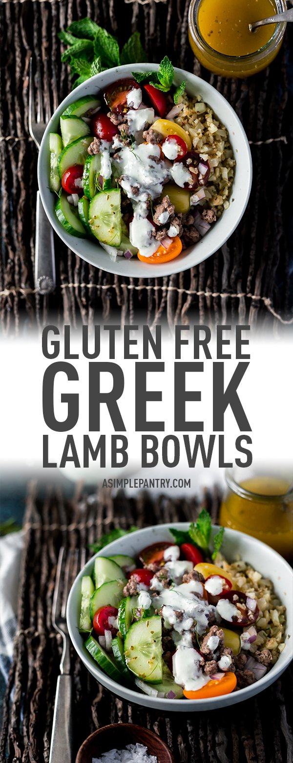 gluten free greek lamb bowls with cauliflower riced veggies, cucumbers, greek dressing, and tzatziki sauce