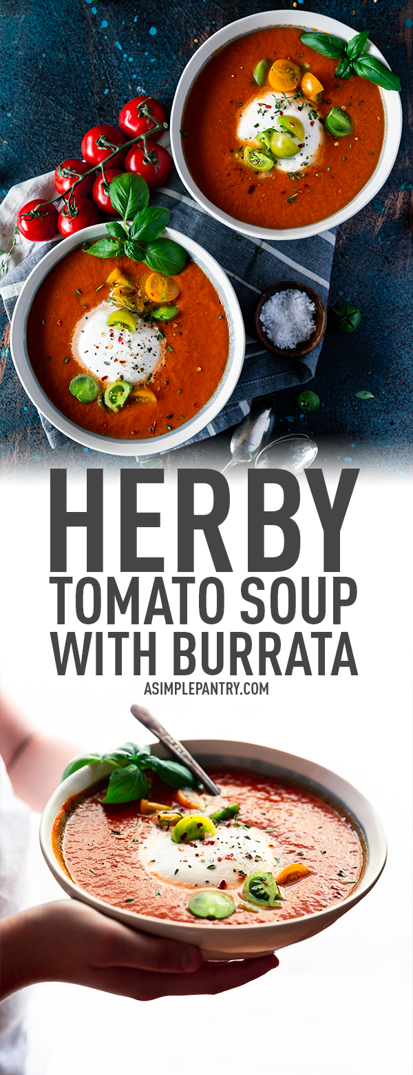 homemade tomato soup with burrata