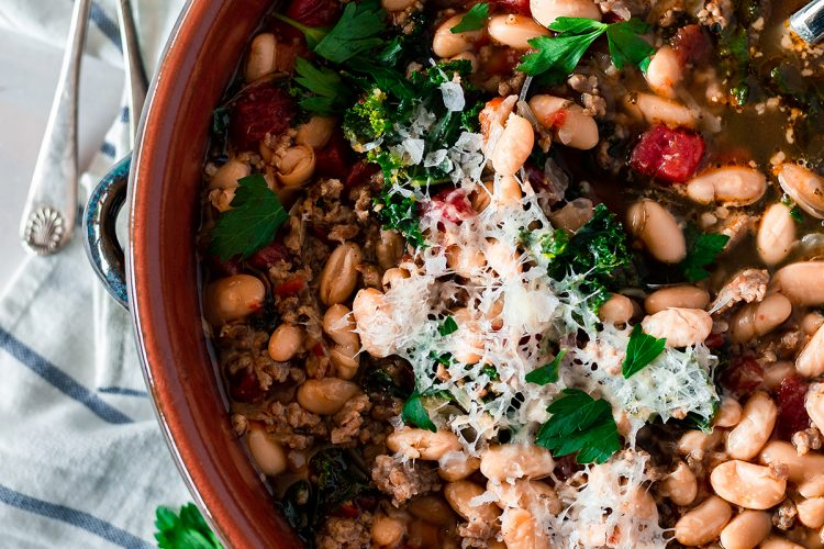 Spicy White Bean Soup with Kale and Asiago