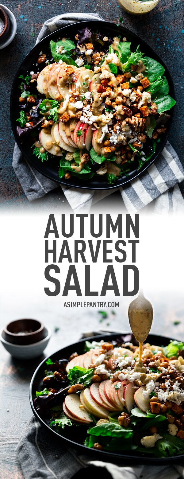a pinterest pinnable image containing two of the previous images of the autumn harvest salad with creamy date vinaigrette.
