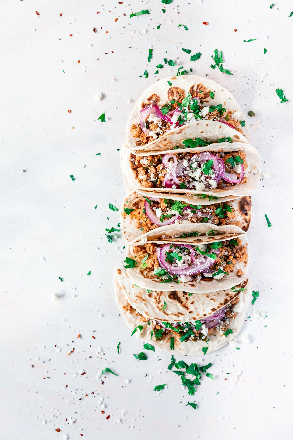 overhead view of weeknight pork carnitas tacos by minneapolis food blogger a simple pantry