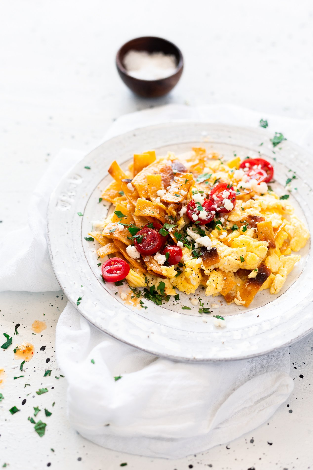 side view of a plate of mexican migas recipe from minnesota food blogger asimplepantry
