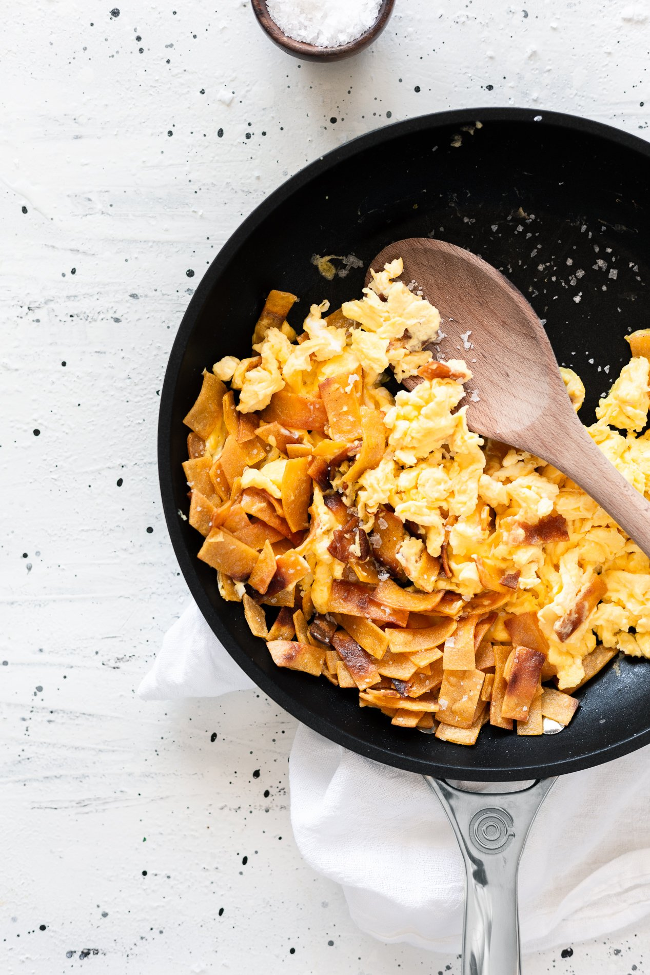 overhead view of a pan of mexican migas recipe from minnesota food blogger asimplepantry