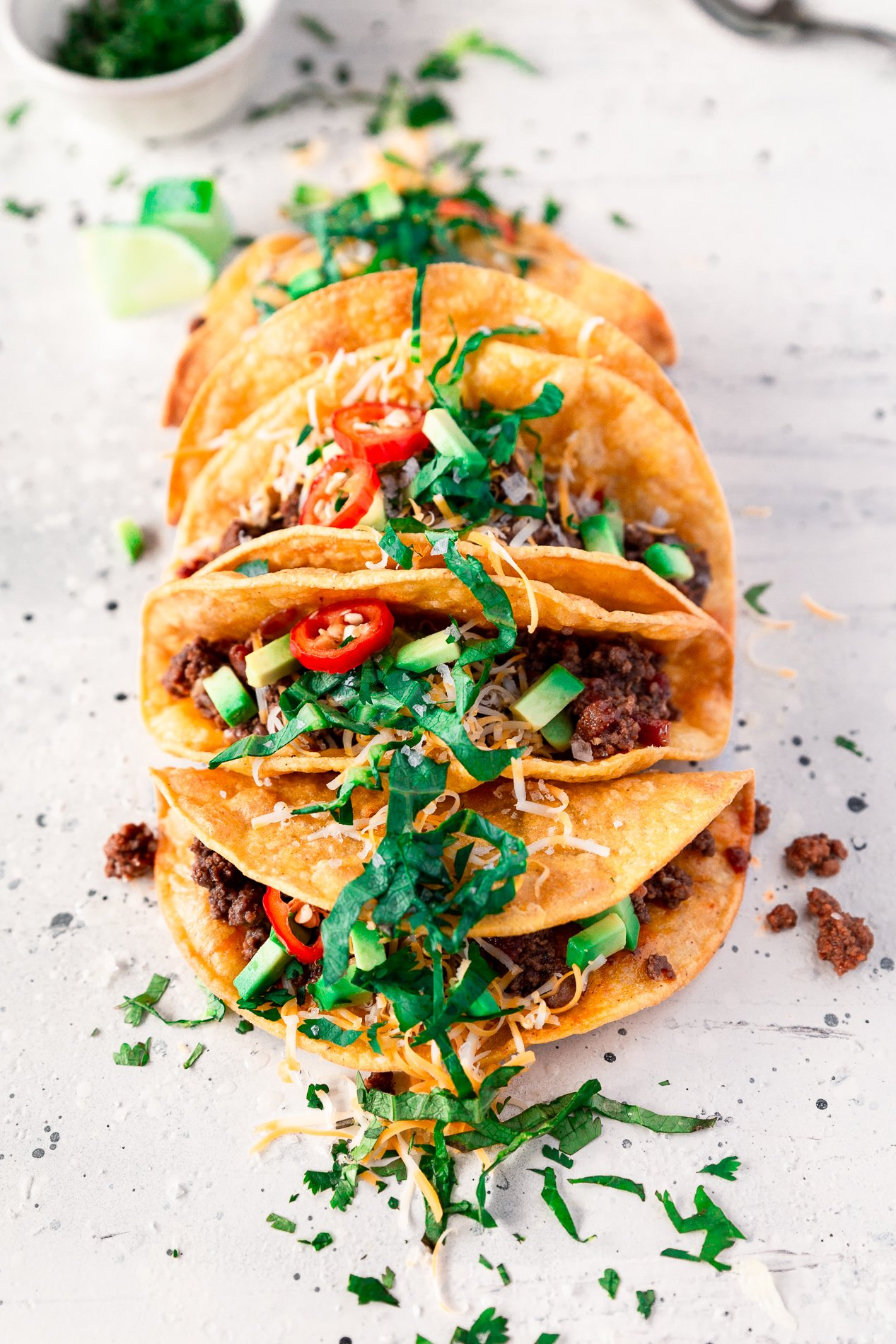 slightly angled view of crispy beef tacos from minnesota food blogger asimplepantry