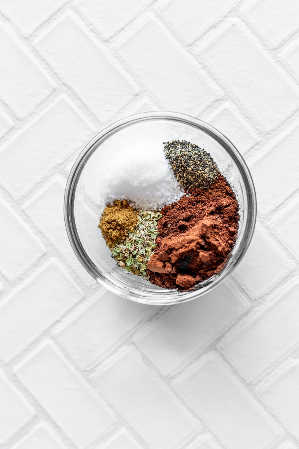 overhead view of chorizo spices