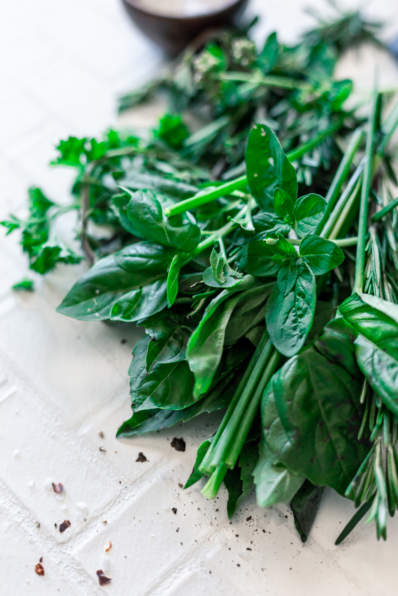 angled view of fresh herbs