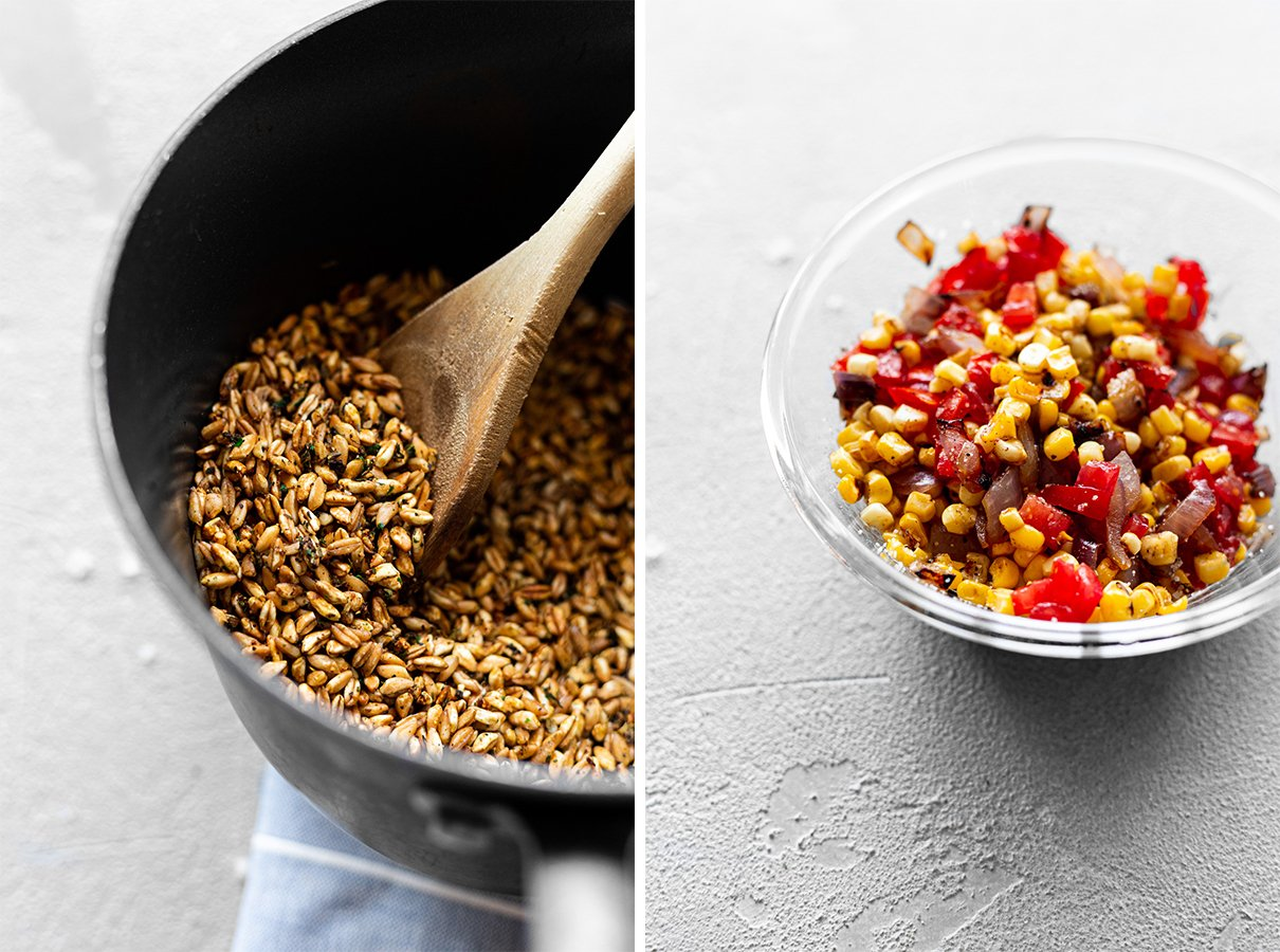 a pot with cooked farro with chimichurri and a bowl with charred corn and onion