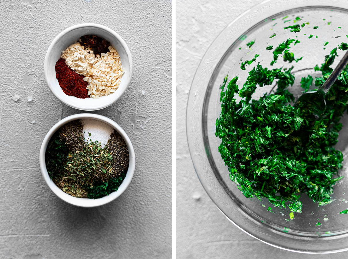 two bowls of dry spices for chimichurri and one bowl of fresh chimichurri