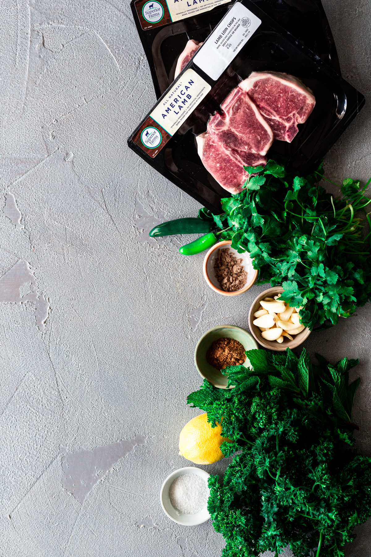 individual ingredients for mint-schug marinated lamb chops