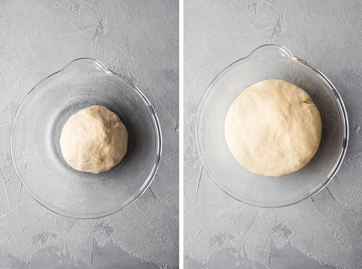 side-by-side view of vegan babka dough before and after rising