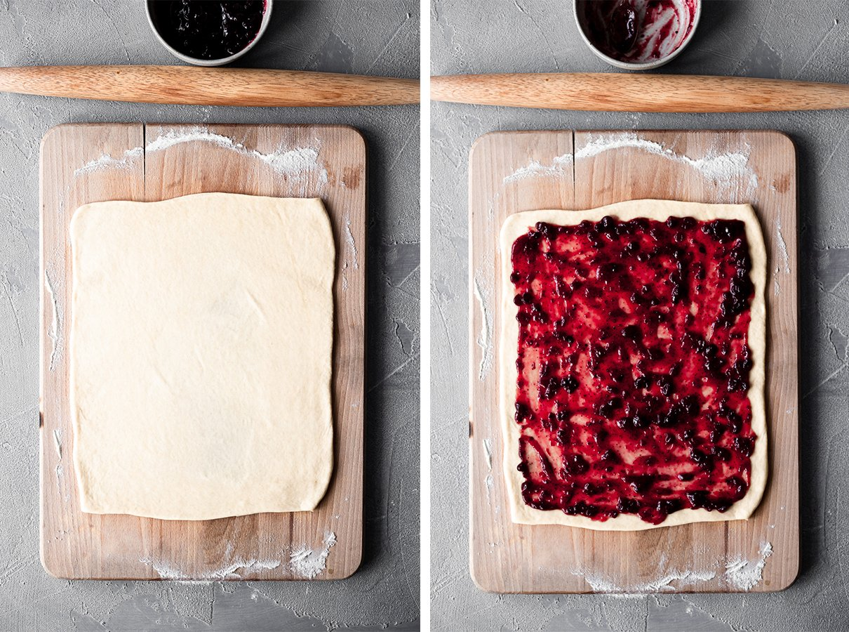 side-by-side images of plain rolled dough and dough covered in lingonberry jam