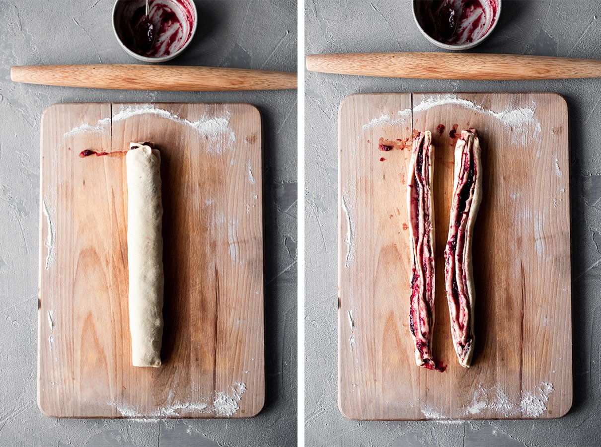 side-by-side images of dough rolled up lengthwise and halved lengthwise