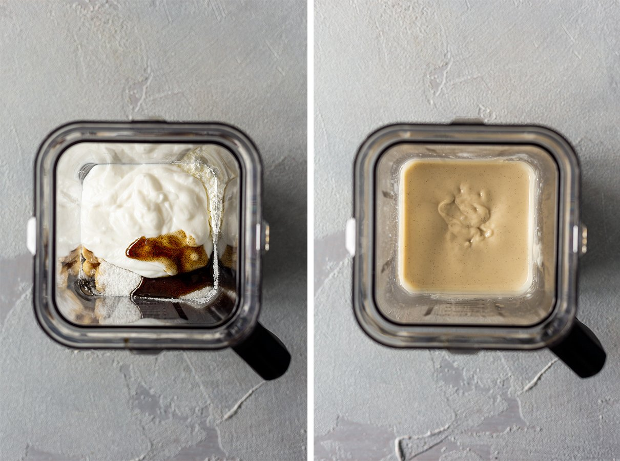 blender with cheesecake ingredients before being blended, and after blending