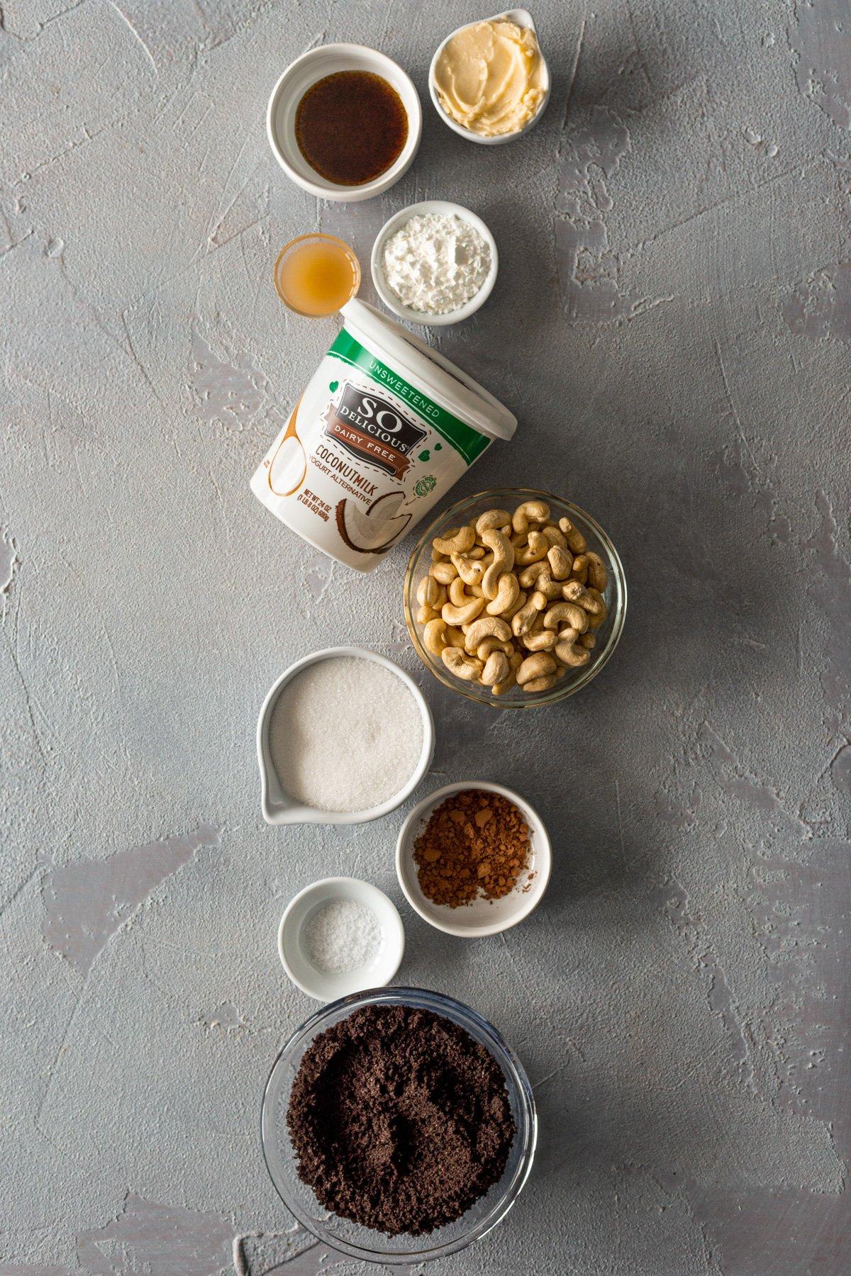 individual ingredients for mini red velvet vegan cheesecake recipe