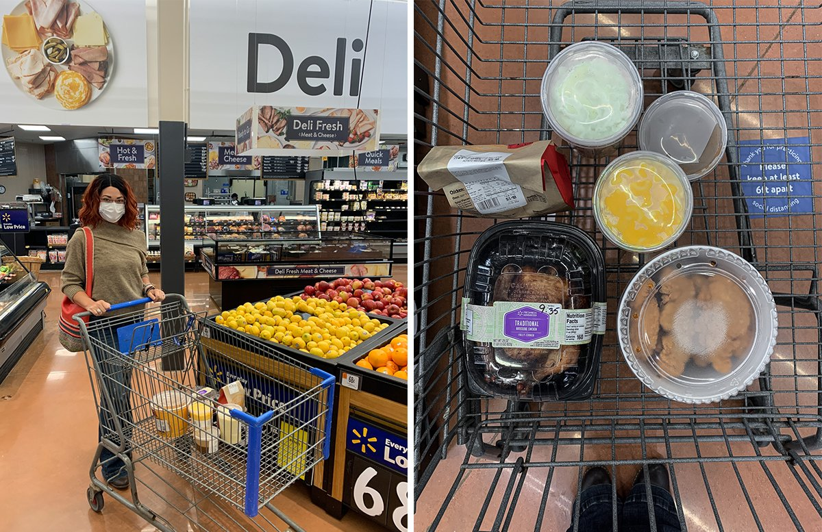 two images: karly gomez in PPE at Walmart and a cart with Walmart Hot Deli items