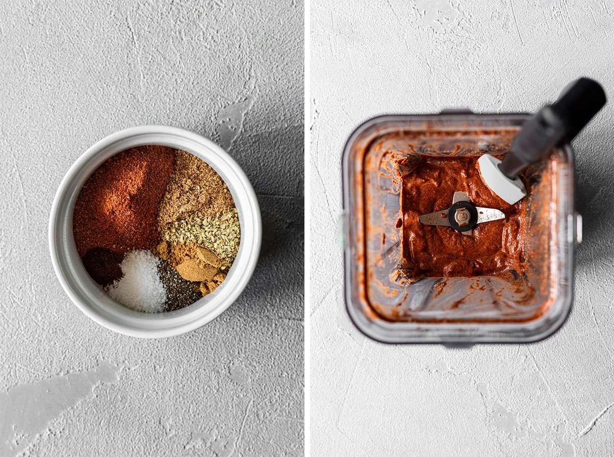 two images: dish with achiote paste seasonings, and achiote paste after blending in a blender