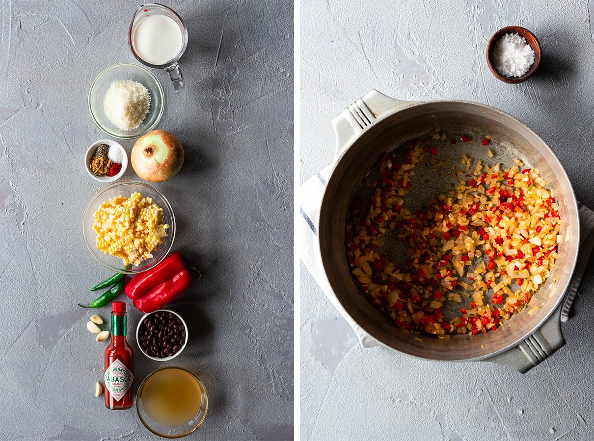 two images: ingredients for easy mexican street corn chowder, pot with sauteed onions and bell pepper