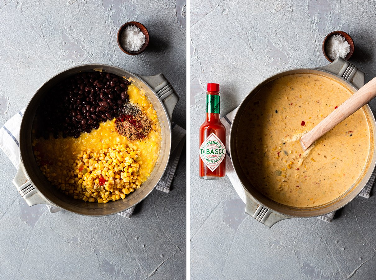 two images: pot with chowder ingredients before combining, and after adding cheese, milk, and TABASCO® Sauce