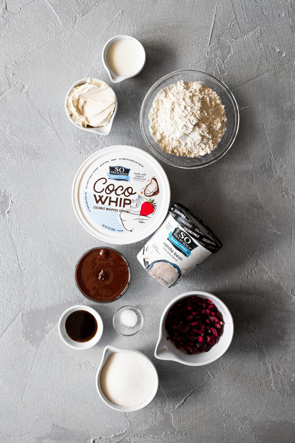 ingredients for edible cookie dough dessert tacos on a gray background