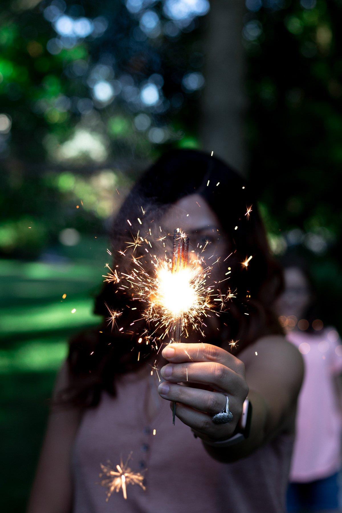 karly gomez with lit sparklers