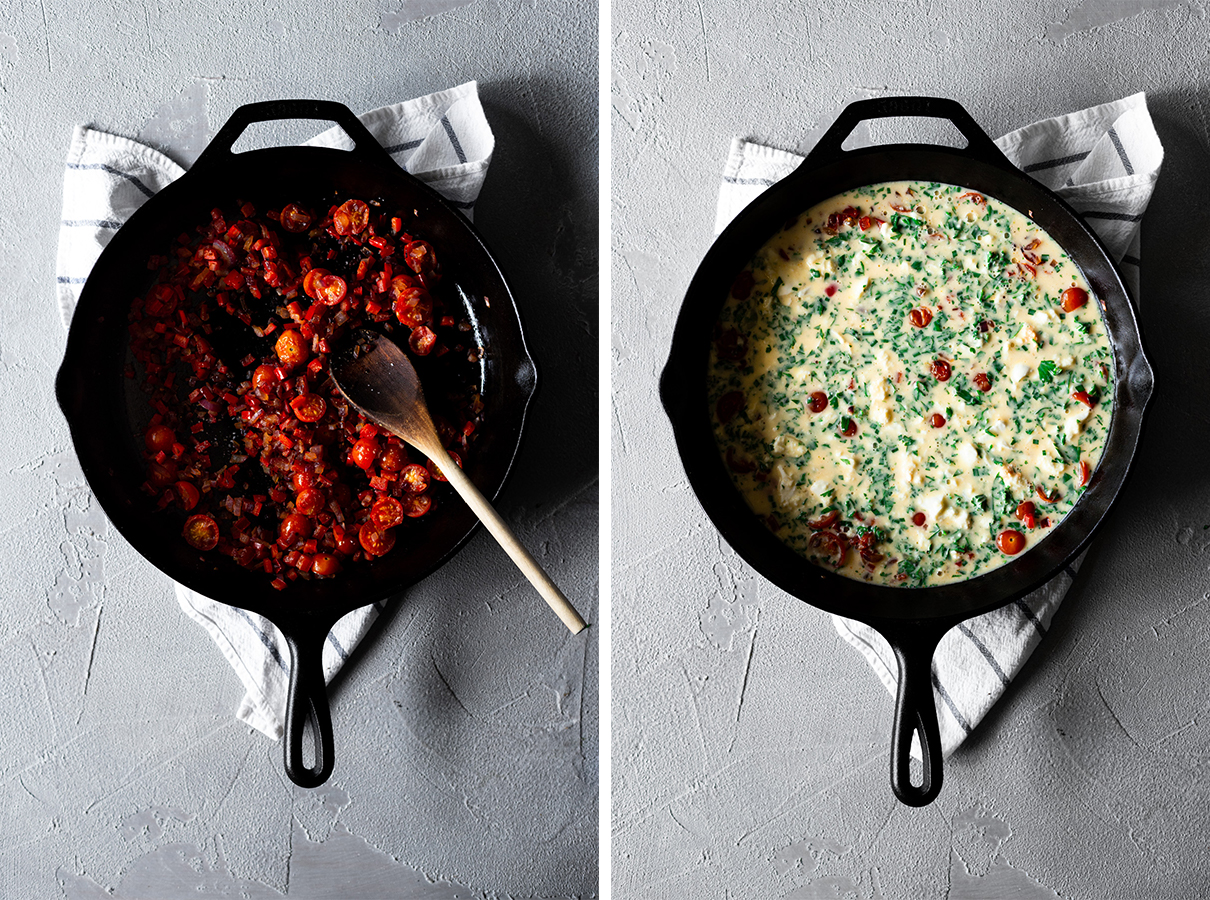 two images: one a skillet with cooked onion, bell pepper, and tomatoes, second same skillet with egg mixture added to it