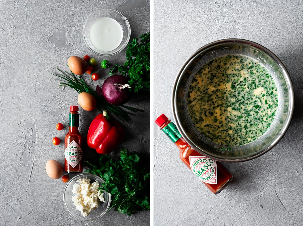 two images: first with ingredients for bell pepper frittata, second with egg mixture in a bowl