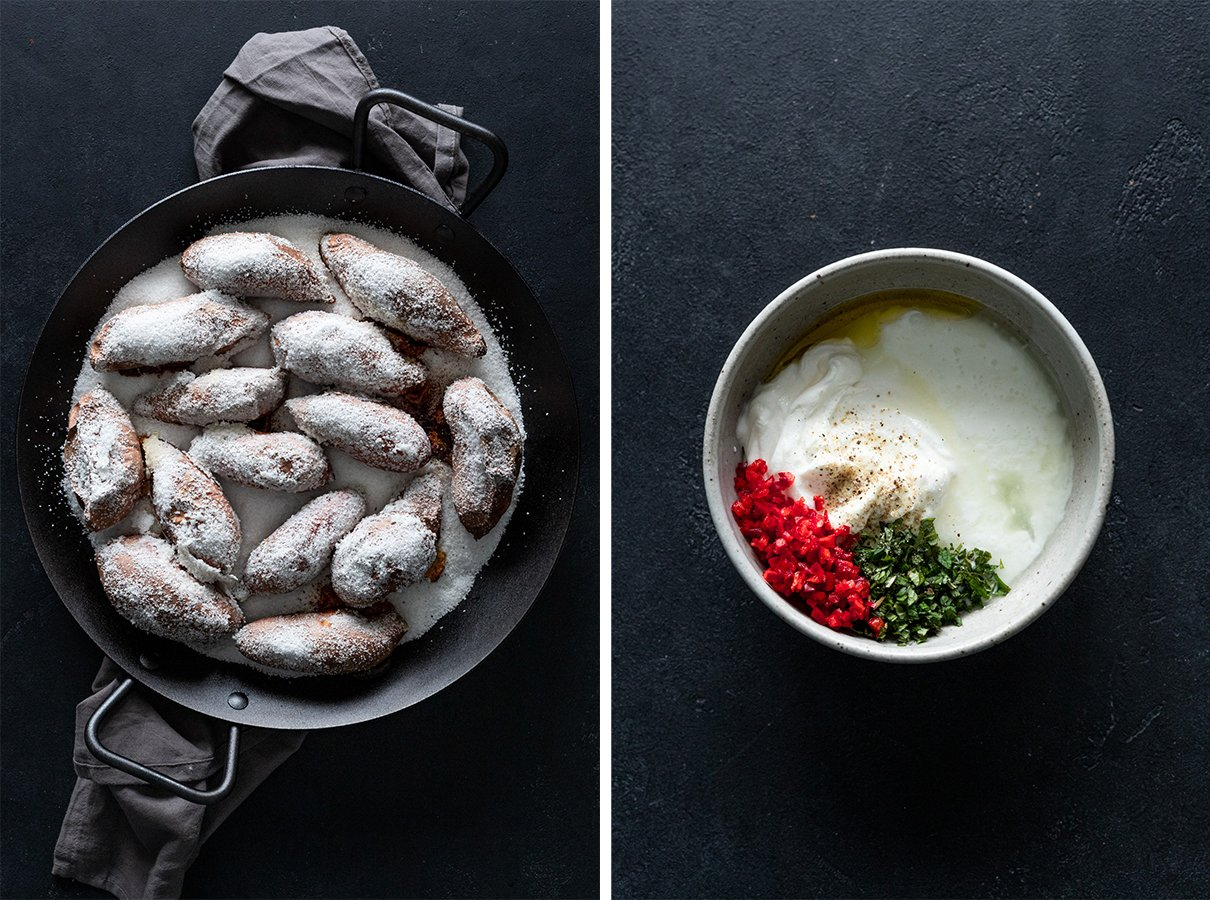 two images: salt roasted sweet potatoes in a pan, mint yogurt sauce in a bowl