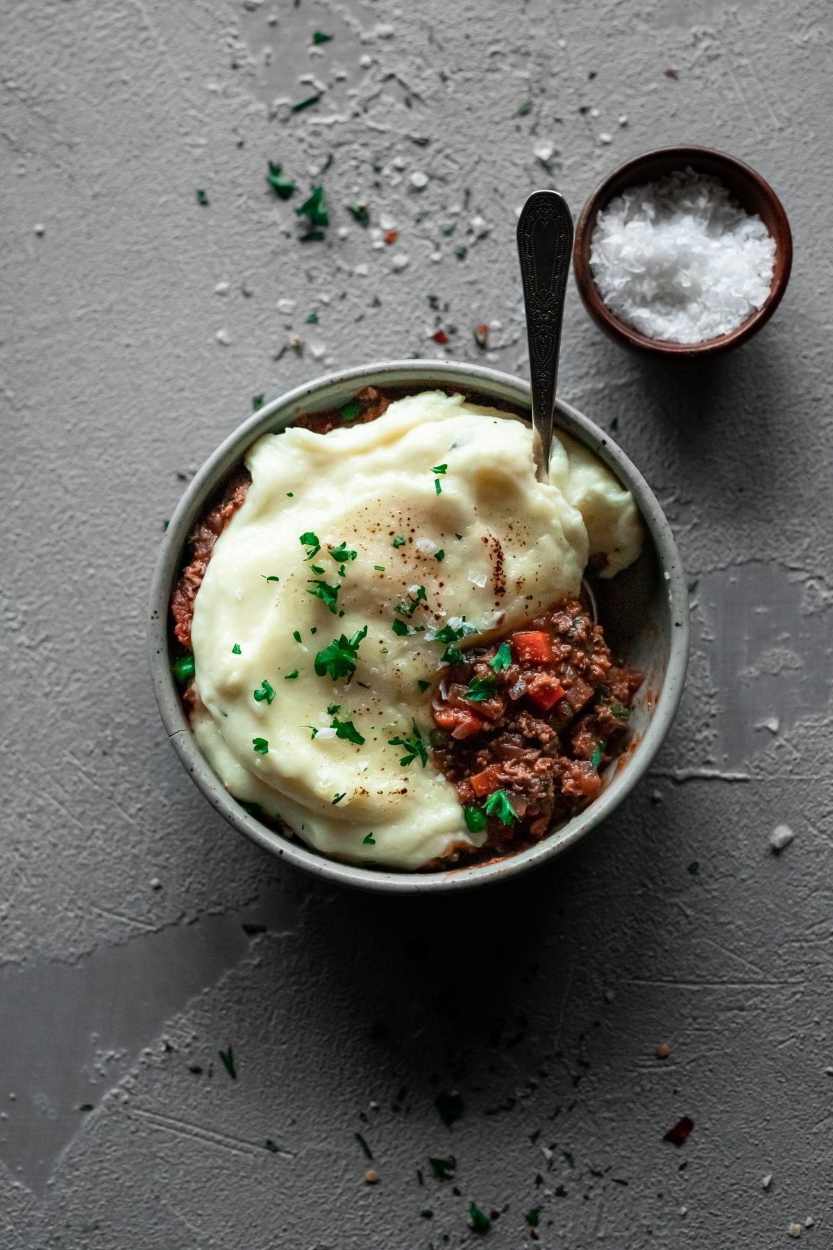 bowl with easy shepherd's pie recipe inside with a fork
