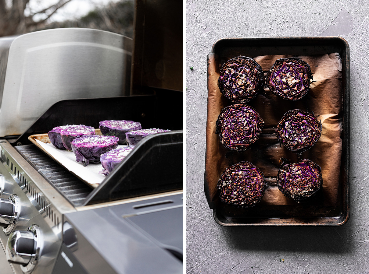two images: red cabbage on the gas grill, red cabbage after roasting