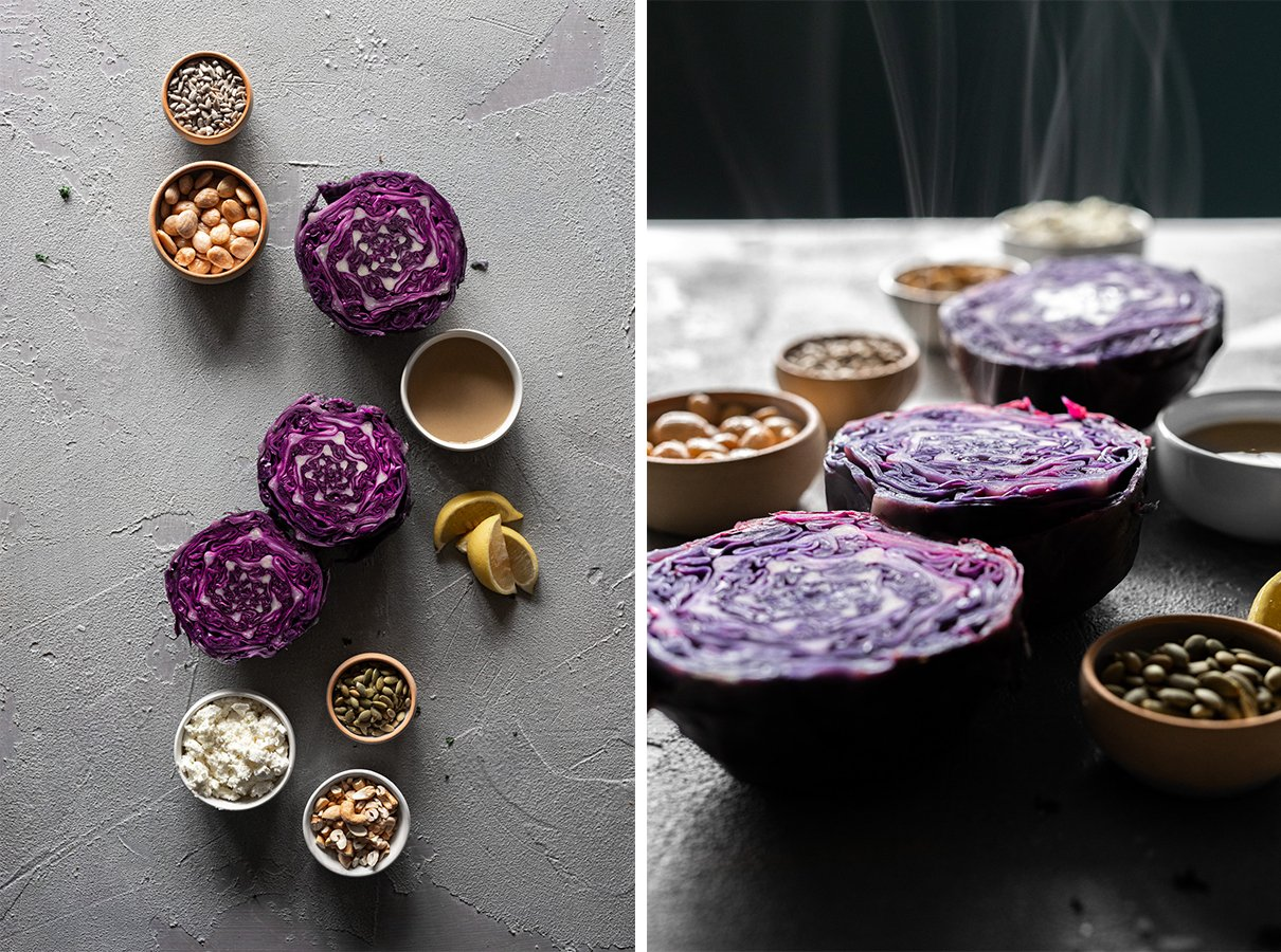 two images: roasted red cabbage ingredients from above, and from the side