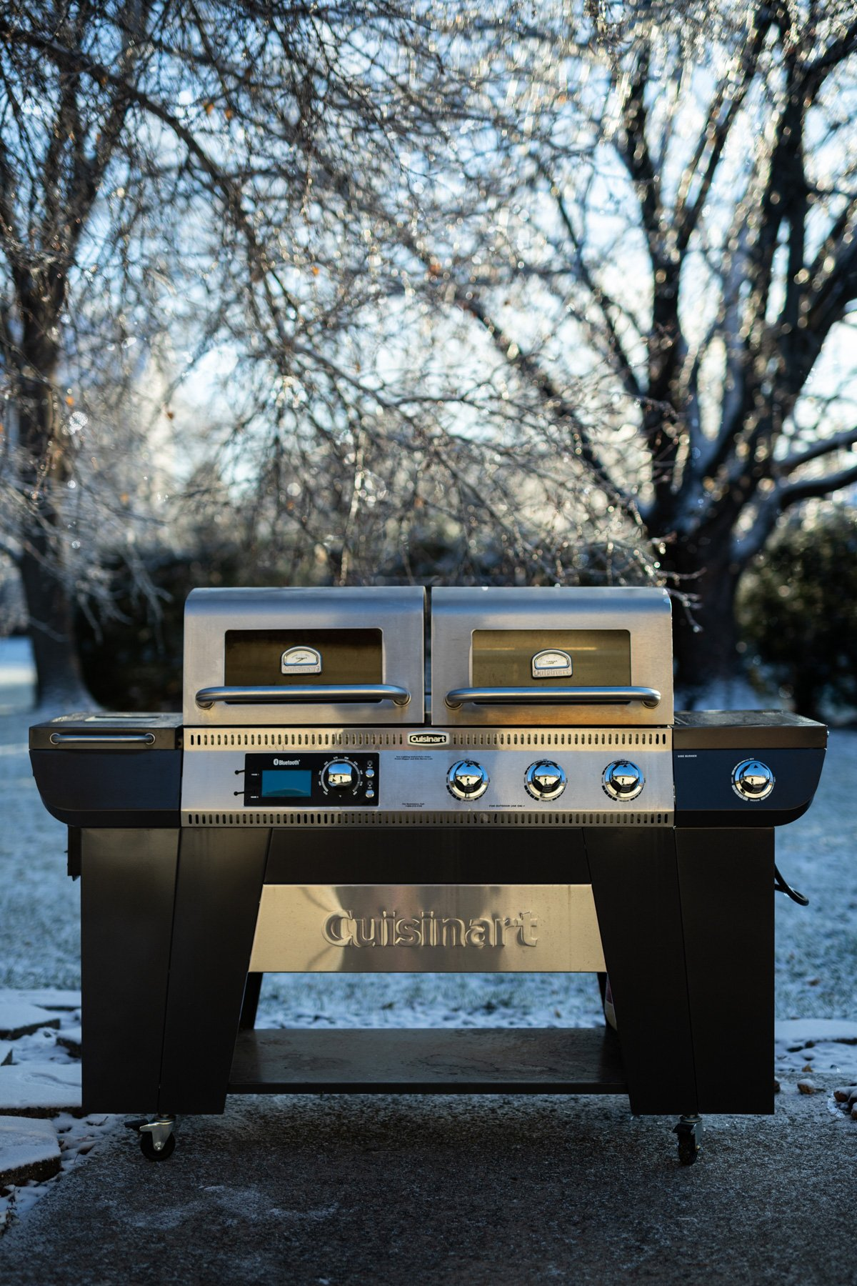 cuisinart twin oaks pellet & gas grill with an icy background
