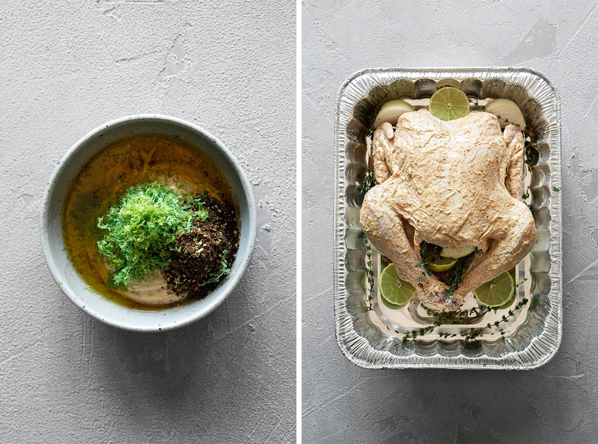 two images: marinade before mixing, and turkey covered in marinade before smoking